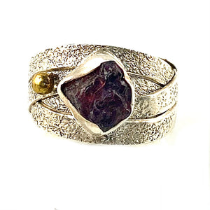 Garnet Rough Two Tone Artisan Crafted Criss Cross Ring