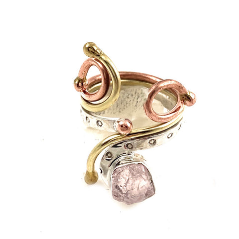 Rose Quartz Rough Sterling Silver Three Tone Whimsical Ring - Keja Designs Jewelry