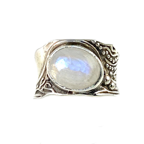 Moonstone In The Flow Sterling Silver Ring