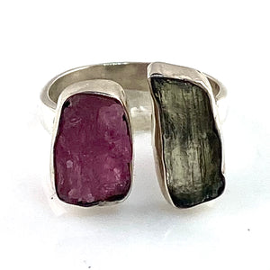 Tourmaline & Moldavite Meteorite Sterling Silver Adjustable Ring