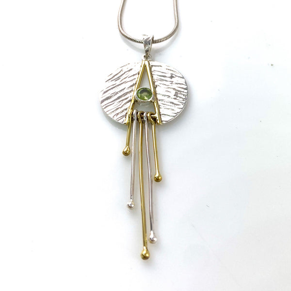 Peridot Two Tone Sterling Silver Dangle Pendant