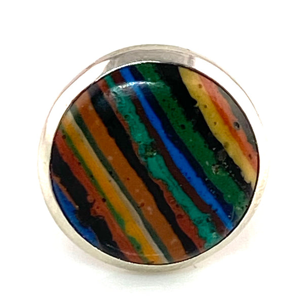 Rainbow Calsilica Sterling SIlver Adjustable Ring