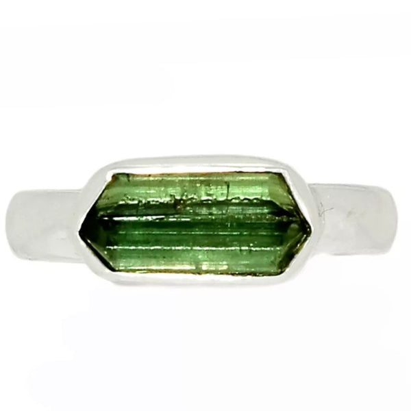 Green Tourmaline Linear Sterling Silver Ring