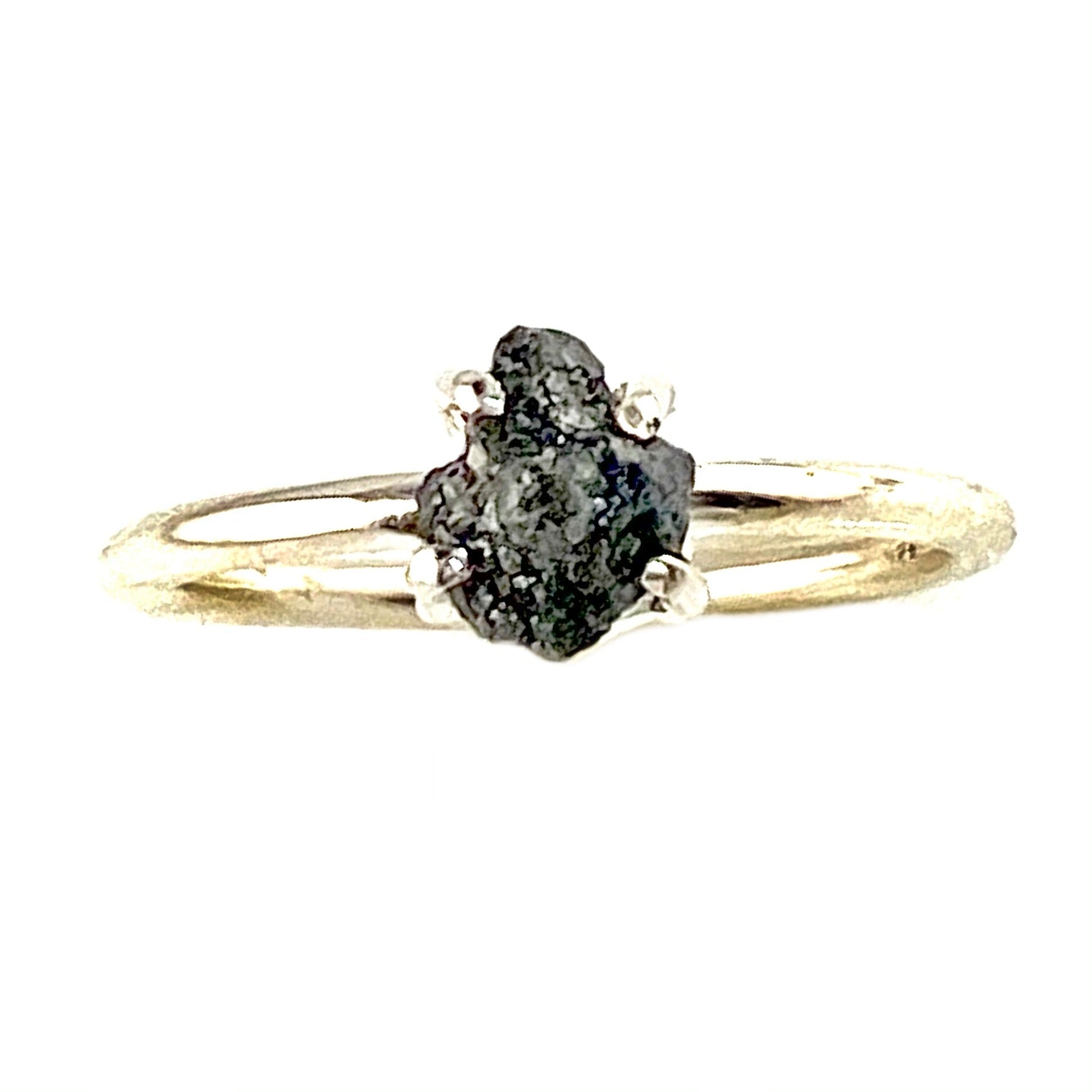 Black Diamond Rough Sterling Silver Solitaire Ring