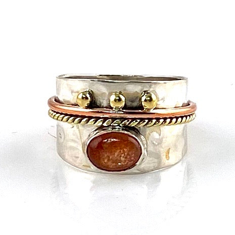 Sunstone Three Tone Sterling Silver Regal Band Ring
