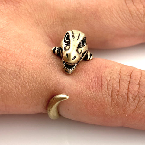Animal Wrap Ring - T-Rex - Yellow Bronze - Adjustable Ring - Keja Designs Jewelry