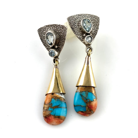 Spiny Oyster Turquoise Sterling Silver Two Tone Earrings - Keja Designs Jewelry