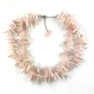 Rose Quartz & Biwa Pearl Sterling Silver Double Strand Necklace