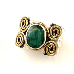 Emerald Sterling Silver Two Tone Spiral Band Ring - Keja Designs Jewelry