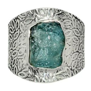 Aquamarine Rough Sterling Silver Vine Pattern Band  Ring - Keja Designs Jewelry