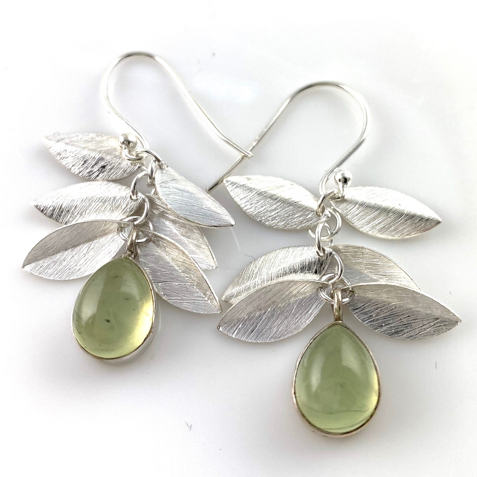 Prehnite Leaf Sterling Silver Earrings - Keja Designs Jewelry