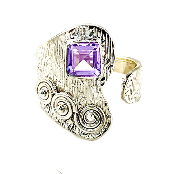 Alexandrite Sterling Silver Adjustable Button Up Ring
