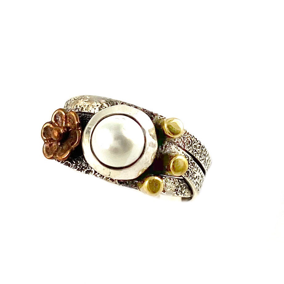 Pearl Two Tone Artisan Crafted CrisCross Ring - Keja Designs Jewelry