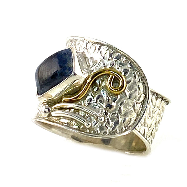 Kyanite Two Tone Sterling Silver Confetti Adjustable  Ring