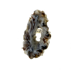 Agate Drusy Geode Sterling Silver Prong Set Ring