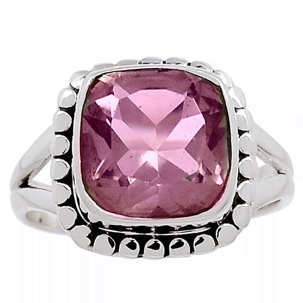 Alexandrite Radiant Cut Sterling Silver Ring