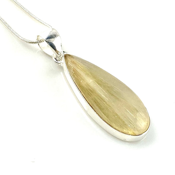 Rutilated Quartz Sterling Silver Elongated Pendant