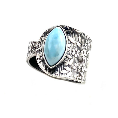 Larimar Sterling Silver Adjustable Floral Pattern Ring - Keja Designs Jewelry