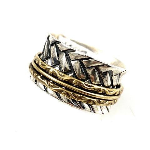 Spinner Ring - Two Tone Hashtag Spinner - Keja Designs Jewelry