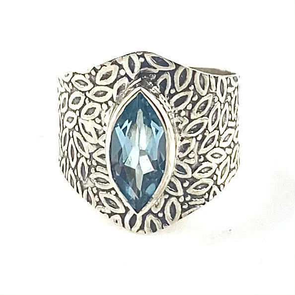 Blue Topaz Sterling Silver Vine Pattern Band Ring