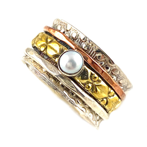 Spinner Ring - Textured Three Tone Pearl - Keja Designs Jewelry