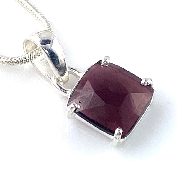 Garnet Cushion Cut Faceted Sterling Silver Pendant