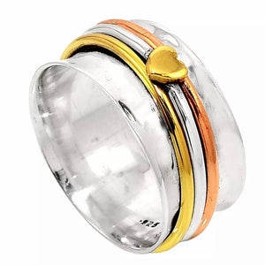 Spinner Ring Three Tone Heart Ring - Keja Designs Jewelry