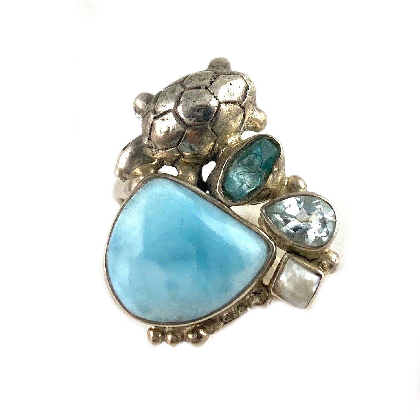 Larimar, Apatite Rough, Pearl & Blue Topaz Sterling Silver Turtle Ring - Keja Designs Jewelry