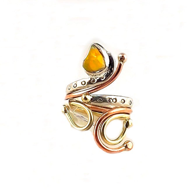 Ethiopian Opal Rough Three Tone Sterling Silver Adjustable Ring - Keja Designs Jewelry