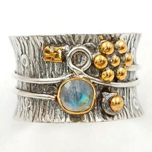 "Moonstone ""Garden"" Two Tone Sterling Silver Band Ring - Keja Designs Jewelry"