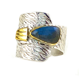 Labradorite Two Tone Sterling Silver Adjustable Wrap Ring