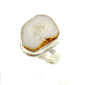 Agate Drusy Geode Sterling Silver Ring