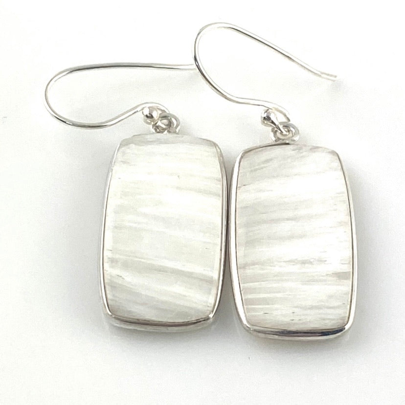 Frosty Scolecite Crystal Sterling Silver Earrings