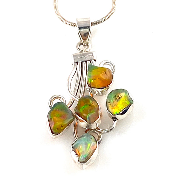 Ethiopian Opal Rough Sterling Silver Shooting Stars Pendant