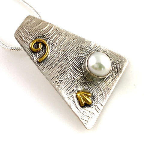 Pearl Two Tone Sterling Silver Spiral Pendant