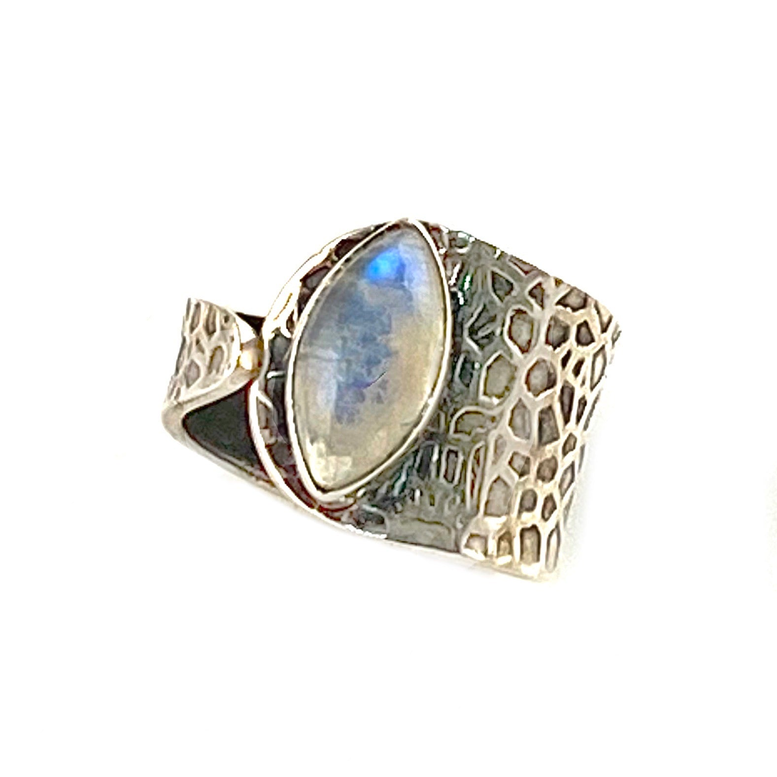 Moonstone Textured Sterling Silver Adjustable Ring - Keja Designs Jewelry