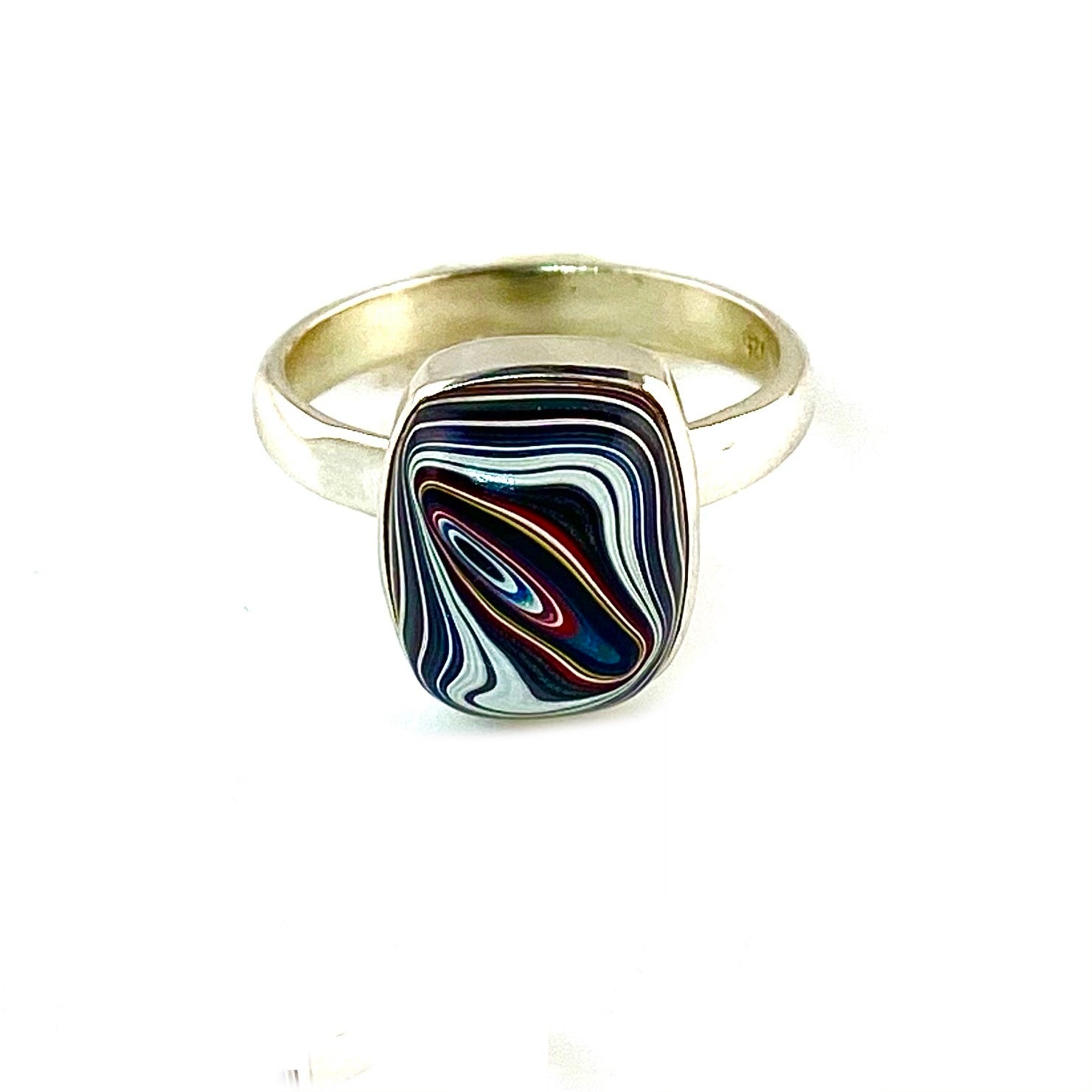 Fordite Sterling SIlver Pillow Ring