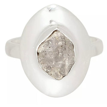 Herkimer Diamond Solitaire Sterling Silver Ring