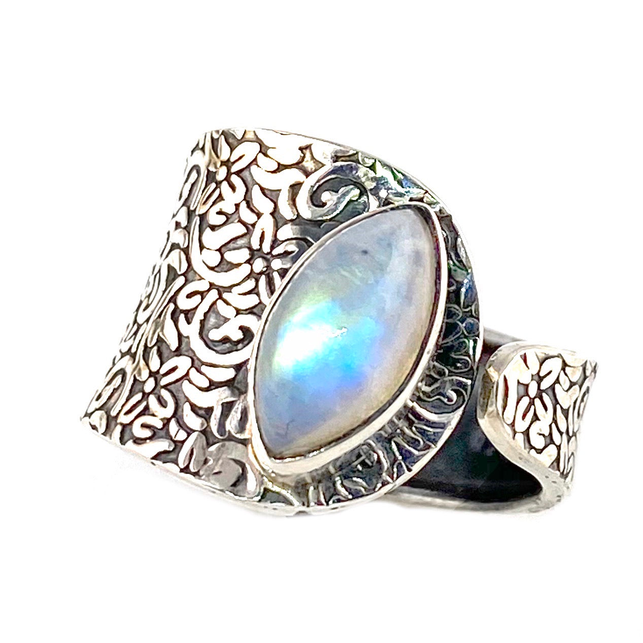 Moonstone Sterling Silver Adjustable Floral Pattern Ring
