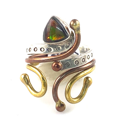 Ammolite Sterling Silver Three Tone Adjustable Ring