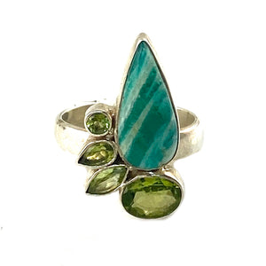 Amazonite & Peridot Sterling Silver Three Tone Ring