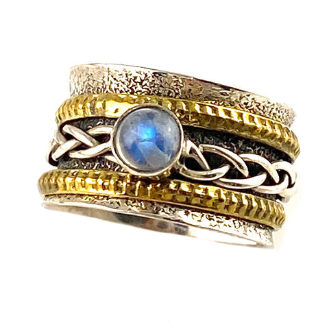 Spinner Ring - Two Tone Moonstone Woven Rings