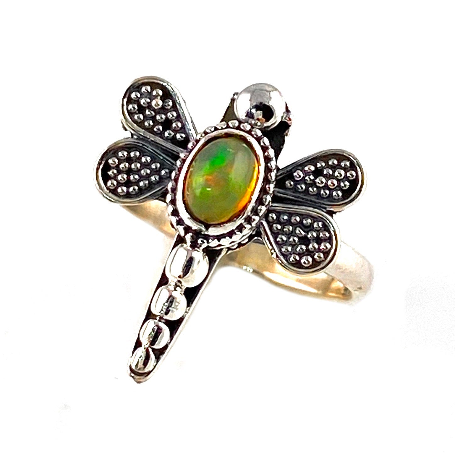 Ethiopian Opal Dragonfly Sterling Silver Ring
