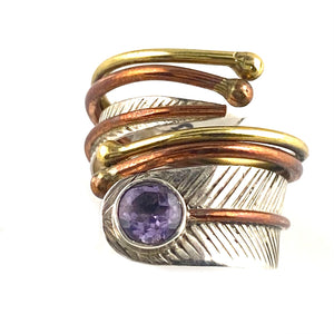 Amethyst Three Tone Sterling Silver Adjustable Wrap Ring