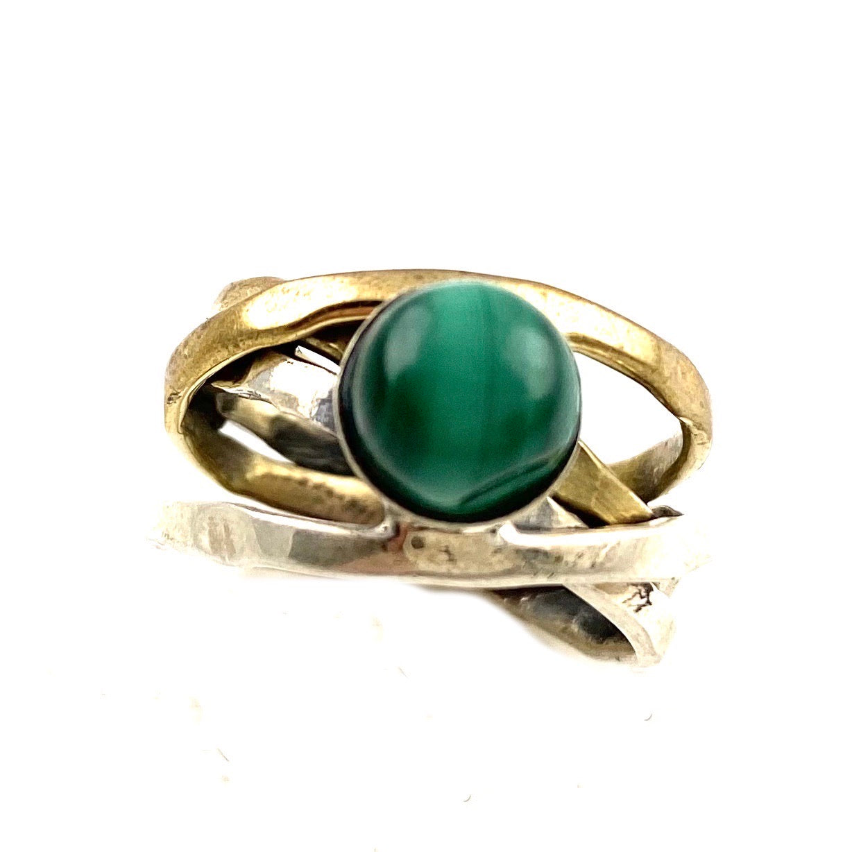 Malachite Sterling Silver Two Tone Ring - Keja Designs Jewelry