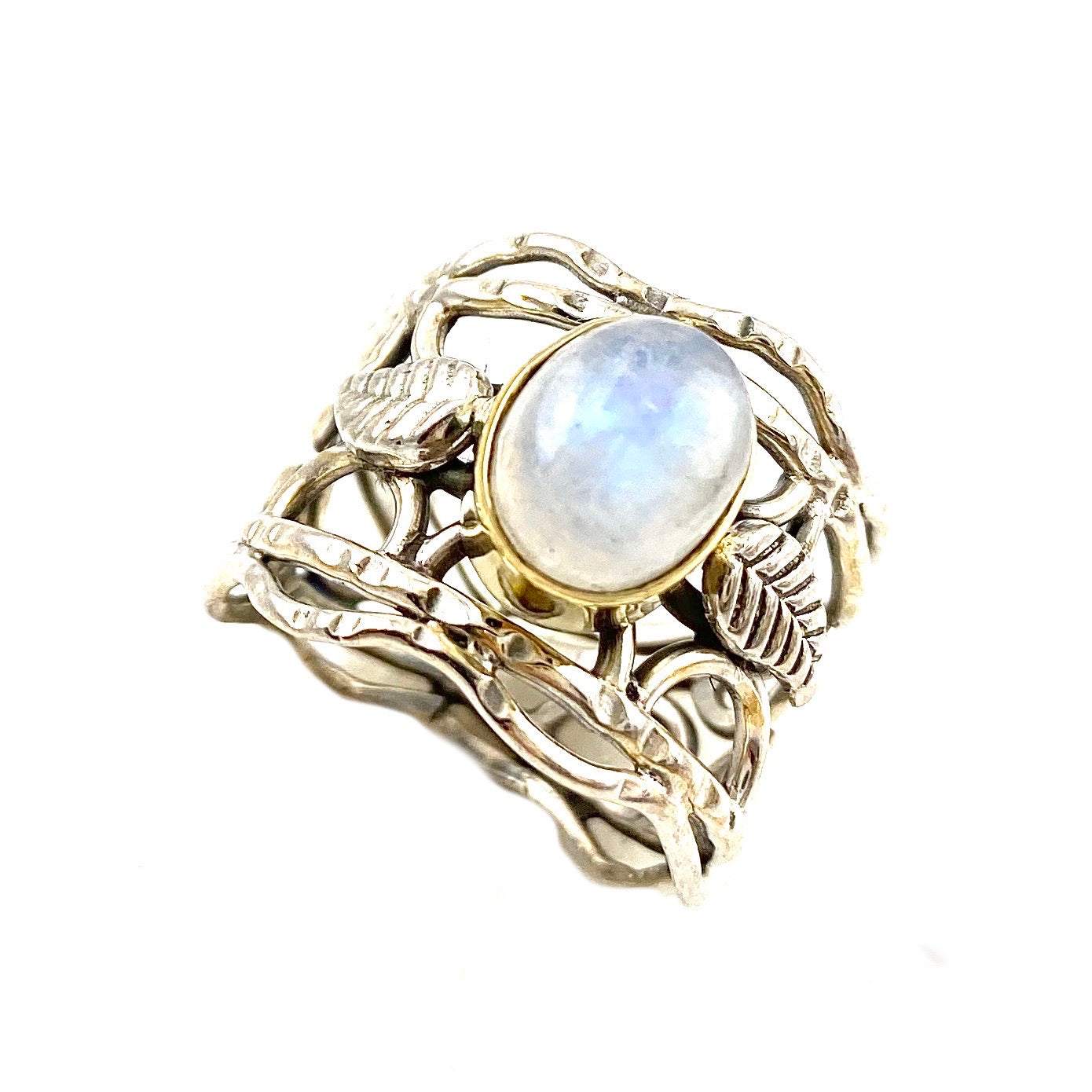 Moonstone Two Tone Vine Sterling Silver Band Ring - Keja Designs Jewelry