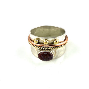 Dinosaur Bone Three Tone Sterling Silver Regal Band Ring