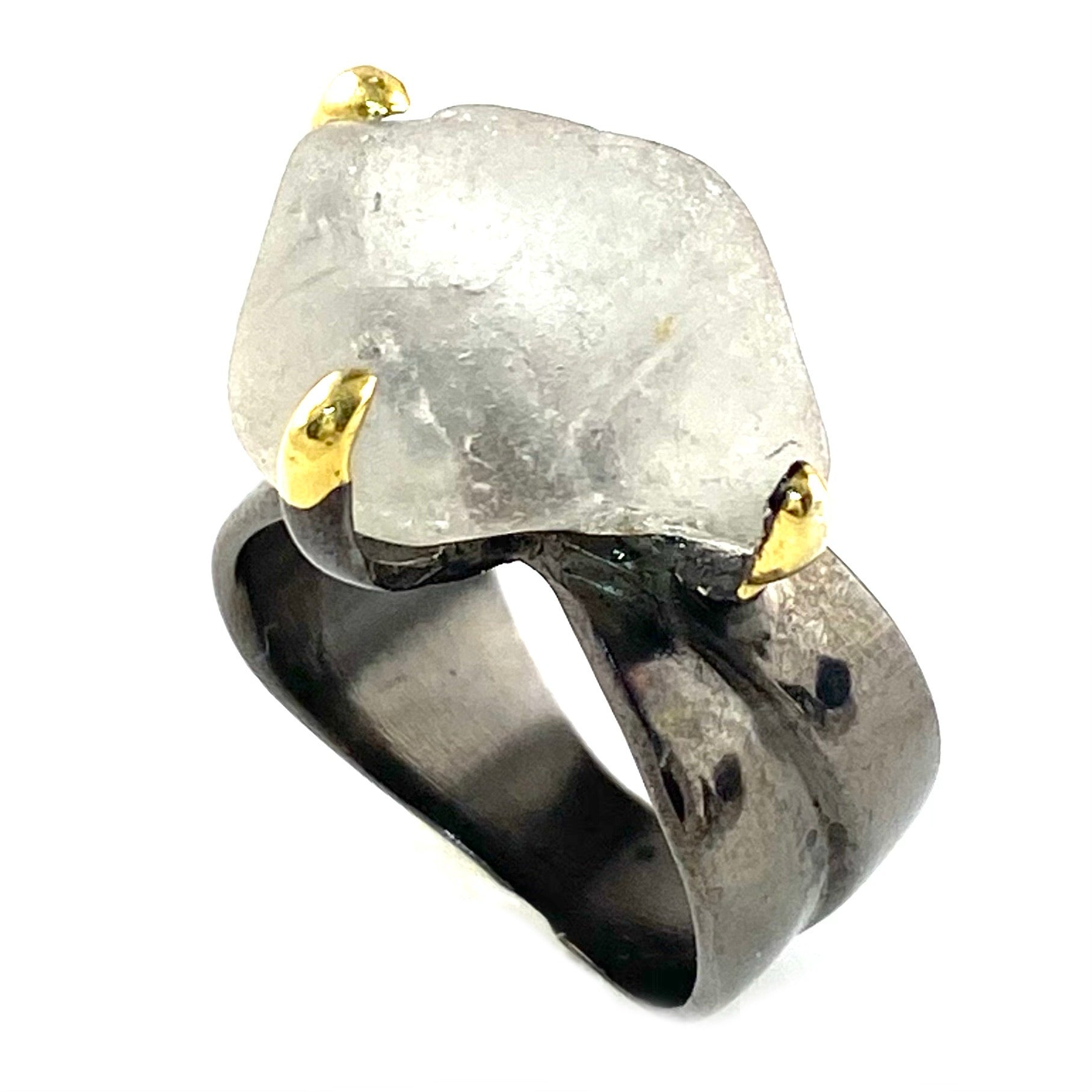 Topaz Rough Sterling Silver Rhodium & Gold Plated Ring