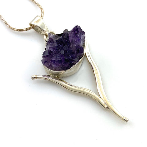 Amethyst Crystal Sterling Silver Wishbone Pendant - Keja Designs Jewelry