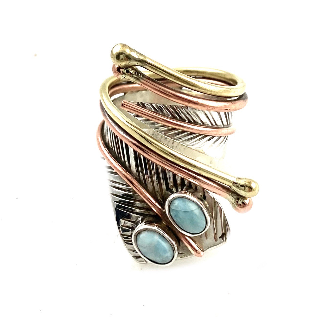 Larimar Two Stone Sterling Silver Adjustable Wrap Ring - Keja Designs Jewelry